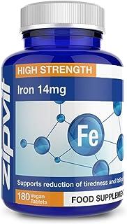Hierro suplemento 14 mg. 180 Tabletas Veganas. Apoya la Función Cognitiva y el Sistema Inmunológico. Reduce Cansancio y Fatiga. Aprobado por la Sociedad Vegetariana.