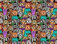 KAPANOU DIY5dダイヤモンドペインティングキット、猫と犬の漫画のシームレスなパターン-ポジティブコミックペット、フレームダイヤモンドナンバーラインストーンペインティングキット、大人の子供向け手作りダイヤモンドアートクラフト 40x50cm