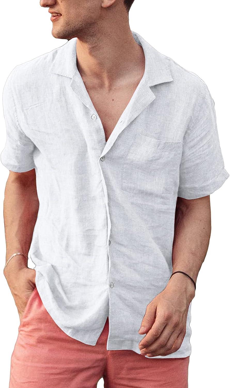 Mens Short Sleeve Shirts Cotton Linen Button Down Holiday Beach Shirts Summer Casual Hippie Shirts Lightweight Tops