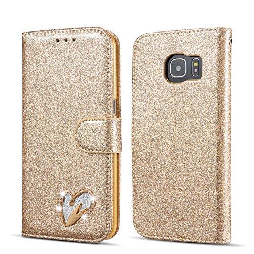 QLTYPRI Samsung Galaxy S6 Hülle, Glitzer Handyhülle PU Ledertasche TPU Etui Handschlaufe Kartenfach mit Eingelegten Liebe Herz Diamond Flip Schutzhülle für Samsung Galaxy S6 - Gold