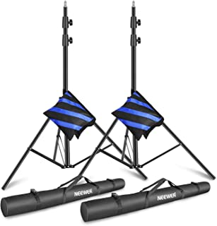 Neewer Light Stands 10 Feet/3 Meters, Pro Heavy Duty Spring Cushioned, All Metal Locking Collars, Set of 2 (Black Finish) ...