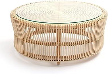 ラタンワールド 円形ガラステーブル ロータイプ T280ND