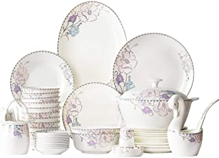 YANJ Ensemble de Vaisselle en céramique avec 50 pièces, Bol/Plat/Pot à Soupe/cuillère | Ensembles de Vaisselle en Porcelai...