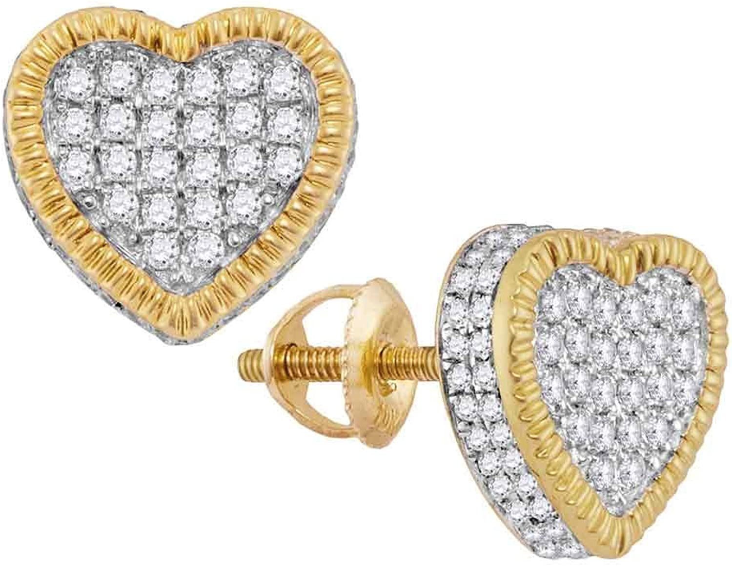 10kt Yellow gold Womens Round Diamond Heart Rope Frame Cluster Earrings 3 4 Cttw