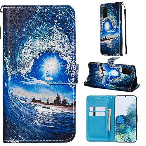 Nadoli Leder Hülle für Galaxy A51,Bunt Welle Sonne Malerei Ultra Dünne Magnetverschluss Standfunktion Handyhülle Tasche Brieftasche Etui Schutzhülle für Samsung Galaxy A51