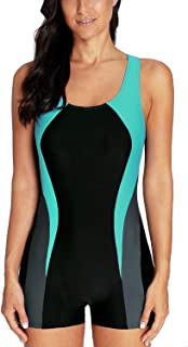 Womens Boyleg One Piece Swimsuit Athletic Swimwear Lap Bathing Suit