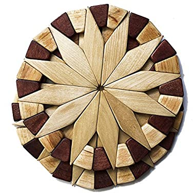 Natural Wood Trivets For Hot Dishes - 2 Eco-friendly, Sturdy and Durable Kitchen Hot Pads. Handmade Festive Design Table Decor - Perfect Kitchen Gifts Idea, by Ecosall.
