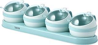 Epices Pots Rangement Spice Jar Set Sel Sugar et Pepper Shakers Cuisine Cuisine Boîte de condiment Organisateur Épices Ban...