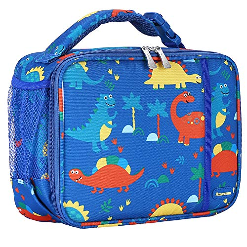 Kids Lunch Box with Supper Padded Inner Keep Food Cold Warm for Longer Time,Amersun Leak-proof Solid Insulated School Lunch Bag with Multi-Pocket for Teen Boys Girls,CPC Certified,Dinosaur