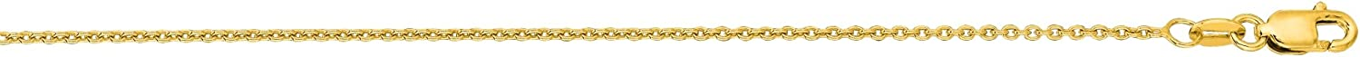 LUXURMAN 14K White or Yellow Solid Gold 1.2mm Wide Round Cable Link Chain 16