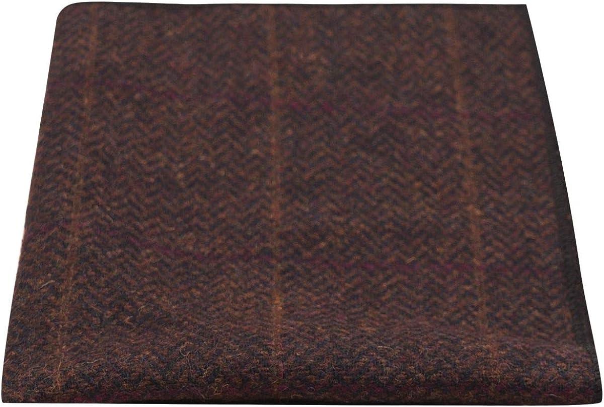 Luxury Mahogany Herringbone Check Pocket Square, Handkerchief, Tweed