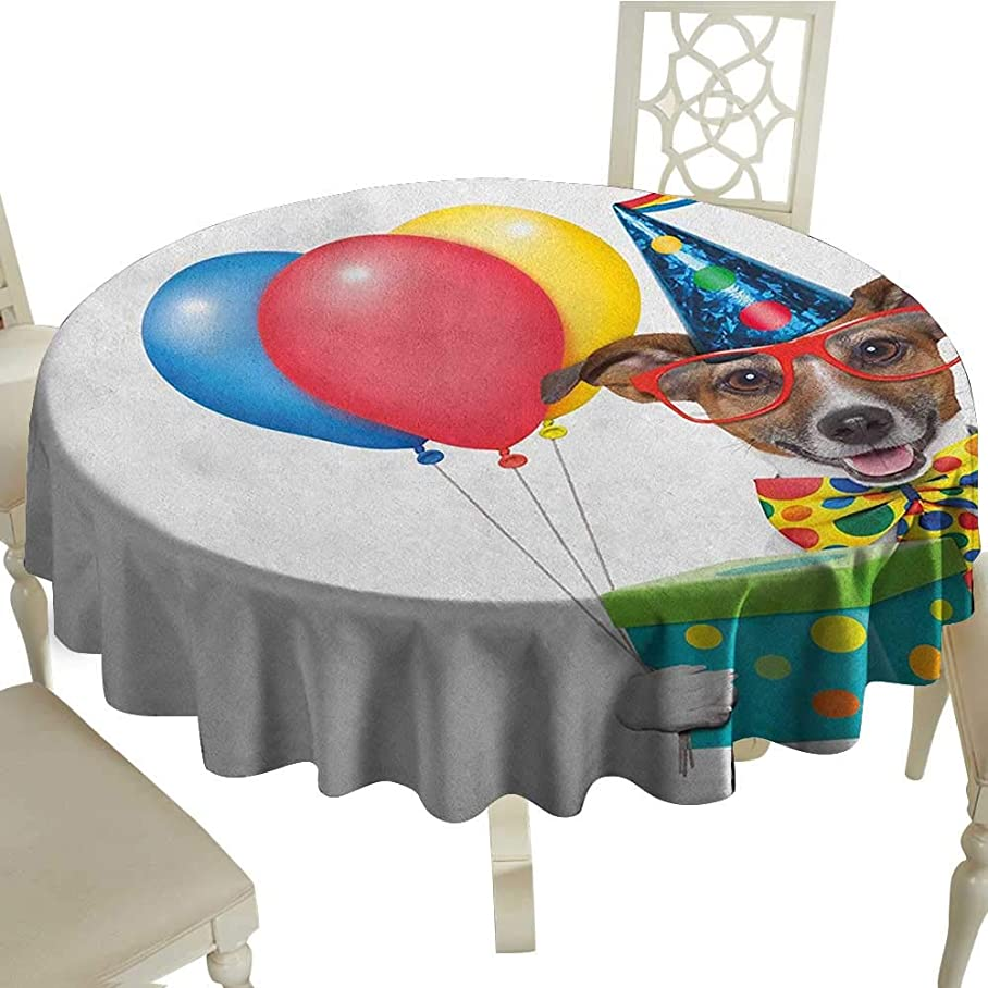 Kids Birthday Dinner Picnic Table Cloth Colorful Balloons Boxes and Dots Print Dog Animal Puppy with Party Cone Print Diameter 70