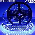 LightingWill DC12V 5M/16.4ft CRI80 SM5050 300LEDs LED Strip Lighting 72W Tri-Chip LED White PCB Single Row Flexible LED Strips 60LEDs 14.4W Per Meter