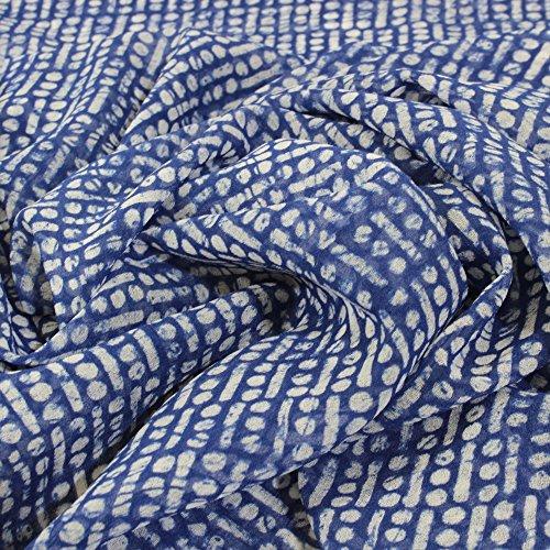 kawenSTOFFE Blau Blusenstoff 100% Polyester Blusenstoff Chiffon Sommerkleidchen Tunika Top Sommerlich Leicht weichfallend Meterpreis Stoff