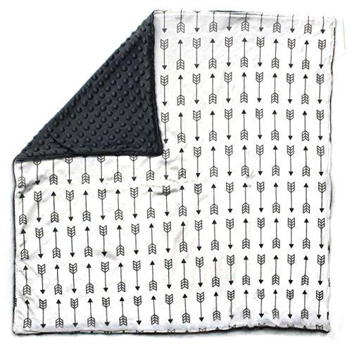 Dear Baby Gear Baby Blankets, Arrows on White, Grey Minky