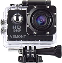 Vemont Cámara Deportiva 1080P HD Impermeable 30M Pantalla de 2.0 Lente de Gran Angular de 120 Grados Multiples Accesorios para Deportes y Actividades, Buceo, Nadar, Correr, Ciclismo, etc. (Negro)