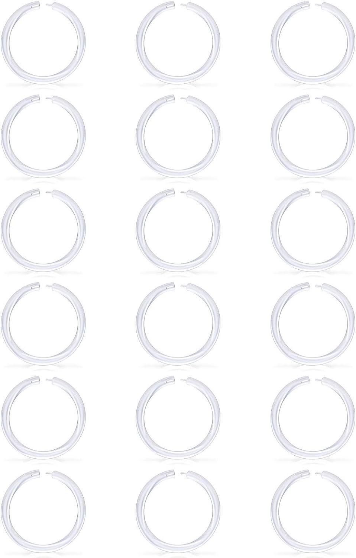 MODRSA Clear Septum Nose Hoop Rings Retainer Bioflex Cartilage Tragus Helix Earring Clicker Hoop Piercing 14G 16G 18G 6-12mm Inner