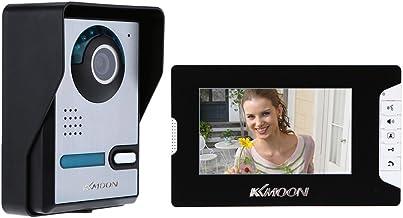 KKmoon 7 Pulgadas Videoportero Cableado, Pantalla Táctil TFT LCD a Color, 16 Melodía Opcional, Volumen/Brillo/Contraste Ajustables, Intercomunicador Visual, Desbloqueo, Visión Nocturna, Impermeable