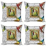 ABAKUHAUS Loro Set de 4 Fundas para Cojín, Exótico Colorido de los pájaros Imagen, Estampado Digital en Ambos Lados y Cremallera, 60 cm x 60 cm, Multicolor