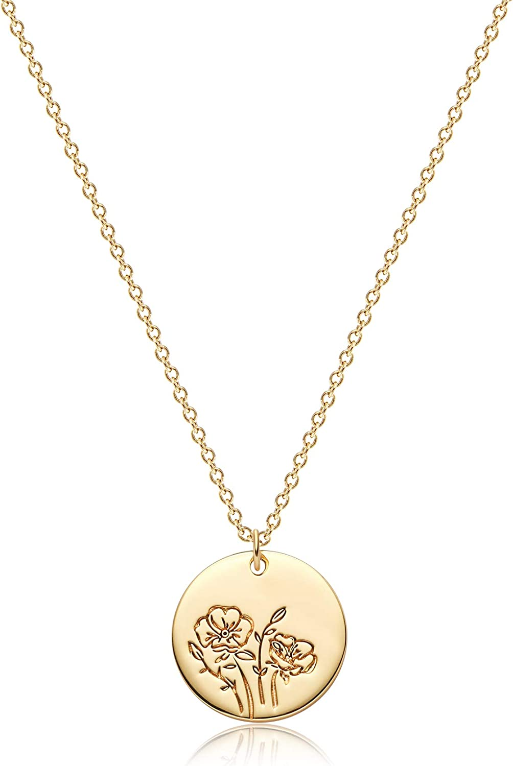 BENEIGE Birth Flower Pendant Necklace for Women 14K Gold Plated Month Floral Chain Necklace Disc Pendant Necklace Dainty Flower Round Custom Necklace for Her