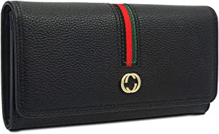 Designer Long Wallet for Women, Retro Fashion Clutch Blocking PU Leather Card Holder Organizer with Zipper