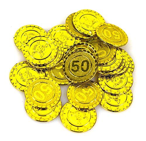Nick and Ben Piraten Goldmünzen 25 Stück Gold glitzernd Seeräuber Kostüm Schatzkiste Geld Taler Münzen Geldmünzen Spielgeld