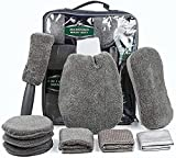 SunTop Auto Autopflege Reinigung Set 9, Waschset kfz Autowaschhandschuh Mikrofaser zur Autoreinigung, Wachs-Tuch Reinigungstuch Set für Auto Motorrad Innen und Außen Haushalt Reinigung