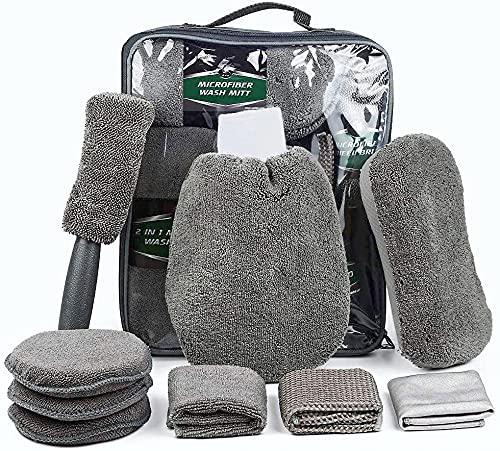 SunTop 9 pcs Cepillo Coche Limpieza de Coches, Microfibra Juego de Lavado para Autos, Camiones, con Cepillo para Llantas, Mitones de Lavado, esponjas, Almohadillas de Lavado, Toallas de Limpieza