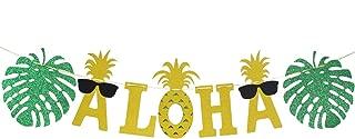 LINGPAR Aloha Banner Party Decorations -Tropical Hawaiian Summer Luau Supplies Gold