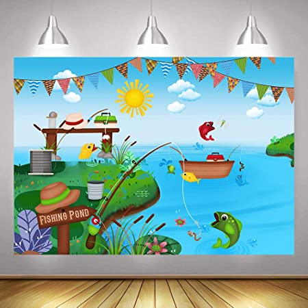 8x8FT Vinyl Photography Backdrop,Zodiac Pisces,Single Fish Swirly Background for Selfie Birthday Party Pictures Photo Booth Shoot