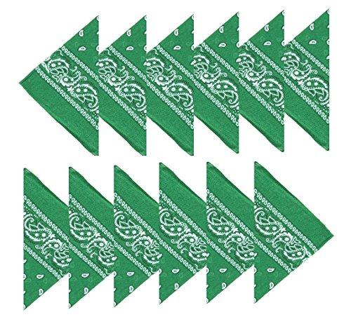 Boolavard 100% Baumwolle, 1er 6er, oder 12er Pack Bandanas mit original Paisley Muster | Farbe nach Wahl Headwear/Haar Schal Ansatz Handgelenk Verpackungs Band Kopf Bindung (12er Dunkelgrün)