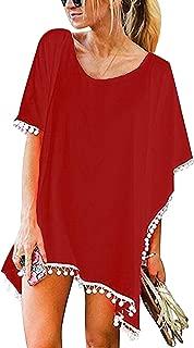 Femme Mini Robe de Plage Ete Par/éo Sarong avec Volant Boheme Hippie Chic Tunique Manche Chauve Sourie Ete Col V Dos Nu Kimono Ethnique Caftan Kaftan Mini Dress Beachwear Bikini Cover up