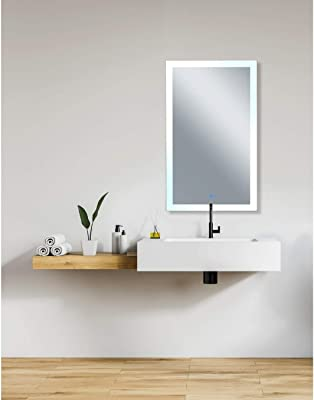49 in. X 30 Matte White Rectangle Led Wall Mirror Modern Contemporary