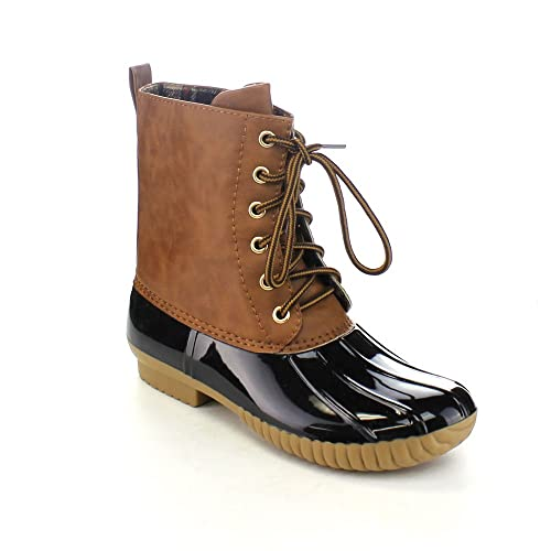 4e25c9a520e5 AXNY Dylan Women s Lace Up Two Tone Combat Style Calf Rain Duck Boots
