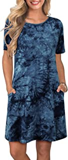 Aliling Women's Long/Short Sleeve Casual T Shirt Dresses Tie Dye Swing Pockets Dress