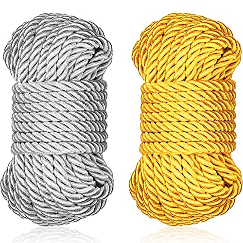Braided Twisted Silk Ropes 8mm Diameter Soft Solid Braided Twisted Ropes Decorative Twisted Satin Shiny Cord Rope for All Purpose and DIY Craft (Yellow, Silver,2 Pieces)