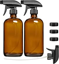Empty Amber Glass Spray Bottle 2 Pack, SXUDA 16oz Refillable Container for Essential Oils, Cleaning Products, or Aromatherapy-Durable Black Trigger Sprayer w/Mist and Stream Settings & 3 Storage Caps