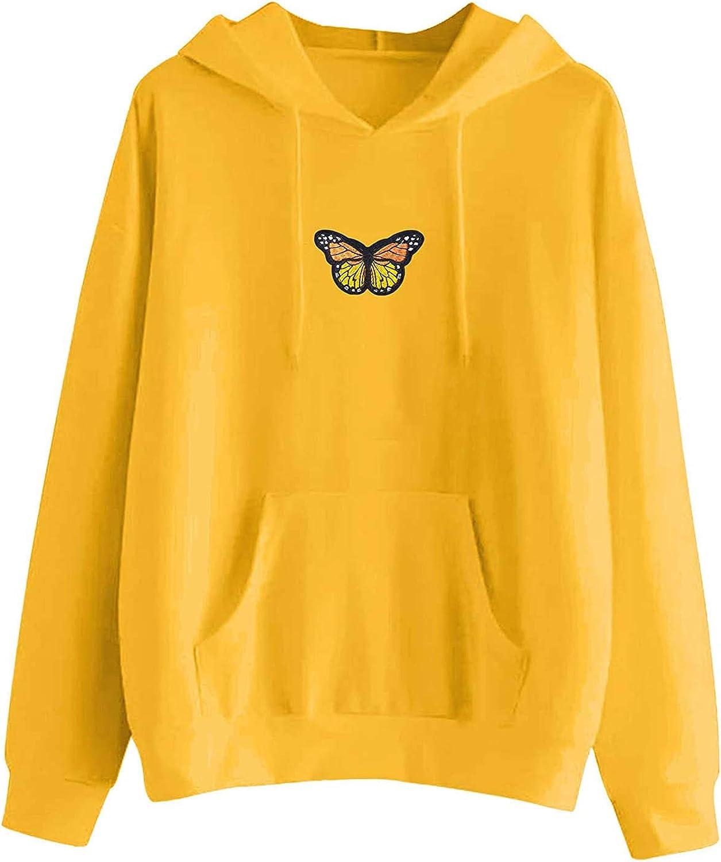 FABIURT Womens Hoodies, Women Girls Cute Butterfly Embroidery Long Sleeve Hoodie Casual Pullover Sweatshirt with Pocket