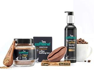 mCaffeine Espresso Body De-Tan Kit | Free Handcrafted Bean Tray | Deep Cleanses, Removes Tan, Moisturizes | Bathing Bar So...