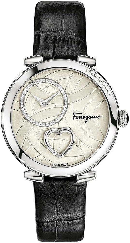 Salvatore ferragamo,orologio da donna, in acciaio,quadrante in argento con cuore pulsante,cinturino  in pelle FE2990016