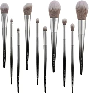 Stellaire Chern Makeup Brush Set, 10 Pcs Premium Synthetic Cosmetic Brushes, Foundation Blending Blush Powder Eye Shadow Make Up Brushes Kit - White & Black