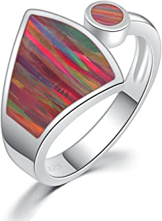 CiNily Rhodium Plated Orange or Green Fire Opal Women Jewelry Gemstone Ring Size 6-10