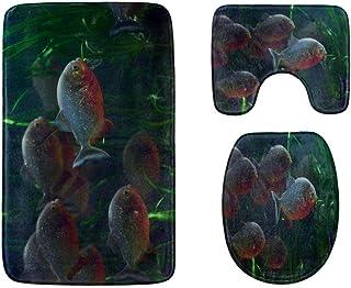 Ferocious Underwater Piranha Bathroom Rug Mats Set 3-Piece,Soft Shower Bath Rugs,Contour Mat and Toilet Seat Lid Cover No...