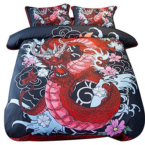Rode draak dekbedovertrek set, Oosterse draak magische schepsel, decoratieve 3 stuk beddengoed set met 2 kussen Shams