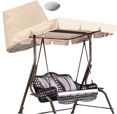skyfiree Patio Swing Canopy Replacement Cover Waterproof 600D Polyester - 2 Years Warranty - Canopy Top Cover Replacement Canopy UV Block Garden Outdoor Porch Patio Swing Large (Beige 98x72x7 inch)