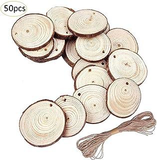 50 piezas de adornos navideños, rodajas de pino pequeñas y redondas de 5-6 cm / 1.97-2.36 pulg, manualidades de bricolaje, discos de madera innovadores, pequeños círculos, pintura,