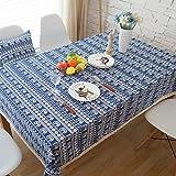 Irinay Joybuy Mantel De Lino De Algodón Moderna con Encaje Azul A Prueba De Polvo Disponible En Diferentes Tamaños Lino De Algodón Multicolor 140X220Cm 55X86 Pulgada