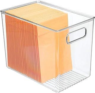 mDesign boîte de rangement avec poignée – rangement bureau profond en plastique pour le placard ou le tiroir – rangement p...