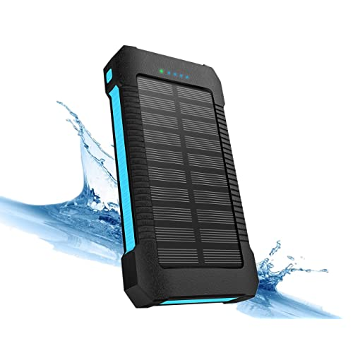 X-DNENG Solar Power Bank Charger 22000 mAh, Solar Powered Phone Charger Portable, Solar Panel Battery Charger with Type-C, Dual USB, LED Flashlight, IPx7 Waterproof, Dustproof for Mobile Phone