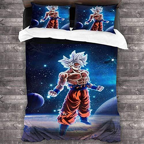 THAVASAM Juego de ropa de cama de 3 piezas – microfibra supersuave Saiyan Goku Ball algodón 1 pieza funda nórdica y 2 fundas de almohada ? Dragon Ball (02,135 x 200 cm)